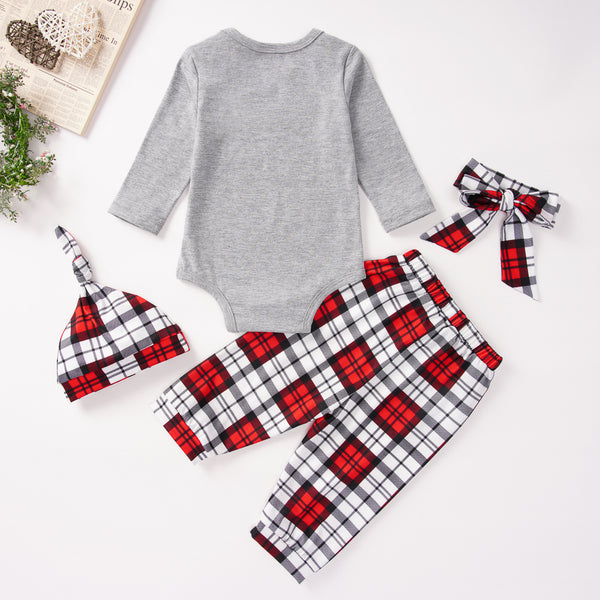 Baby Unisex 4-Piece Plaid Letter Printed Christmas Sets Wholesale Baby