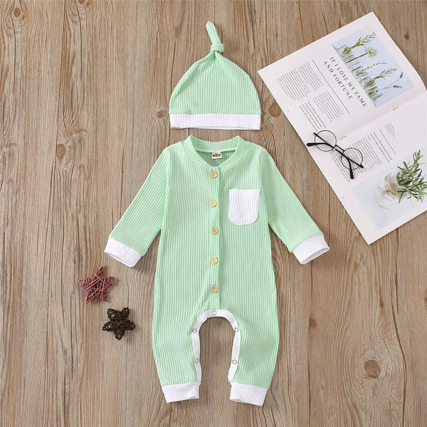Baby Unisex Button Pocket Long Sleeve Romper & Hat Baby Outfits