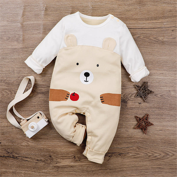 Baby Unisex Cartoon Animal Cute Long Sleeve Romper Baby Wholesale Clothes