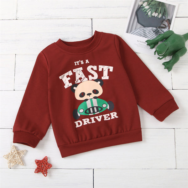 Unisex Cartoon Driver Printed Long-Sleeve Top Kids Clothing Suppliers