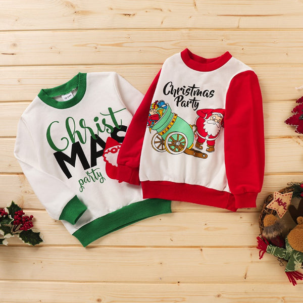 Unisex Kid Christma Party & Santa Claus Pattern Top Boys Wholesale Clothes