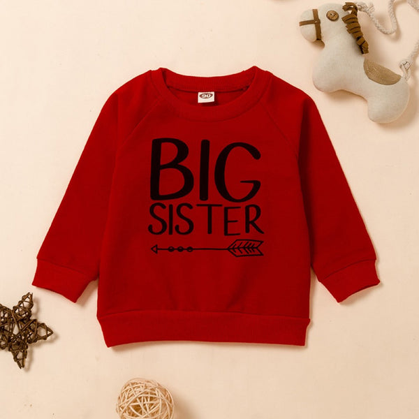 Unisex Kid Sister & Brother Letter Printed Long Sleeves Top Wholesale Toddler Boy Clothes