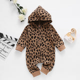 Baby Unisex Leopard Zipper Hooded Long Sleeve Romper
