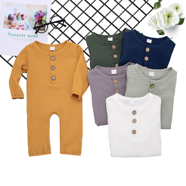 Baby Unisex Linen Solid Button Long Sleeve Rompers
