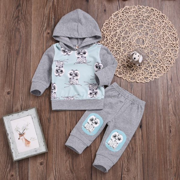 Unisex Owl Cartoon Printed Hooded Top & Pants Boys Casual Suits