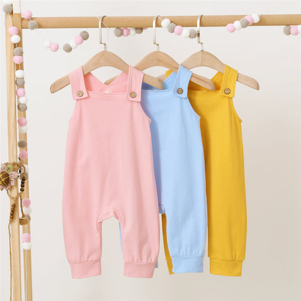 Baby Unisex Sleeveless Solid Color Button Suspender Romper Baby Wholesale