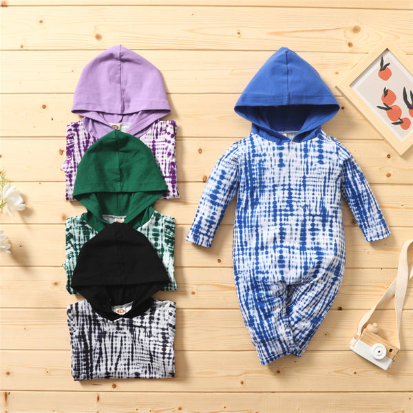 Baby Unisex Tie Dye Long Sleeve Hooded Romper Baby Wholesale Clothing