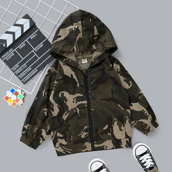 Boys Up To You Camo Printed Zipper Hooded Jacket Boy Clothing Wholesale