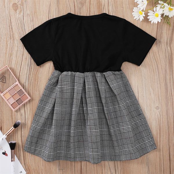 Girls V-Neck Short Sleeve Plaid Splicing Dress children's wholesale boutique clothing