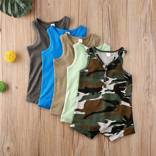 Baby Boys V-Neck Sleeveless Button Romper Baby Summer Clothes