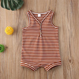 Baby Boys V-Neck Sleeveless Striped Romper Wholesale Baby Boutique Items