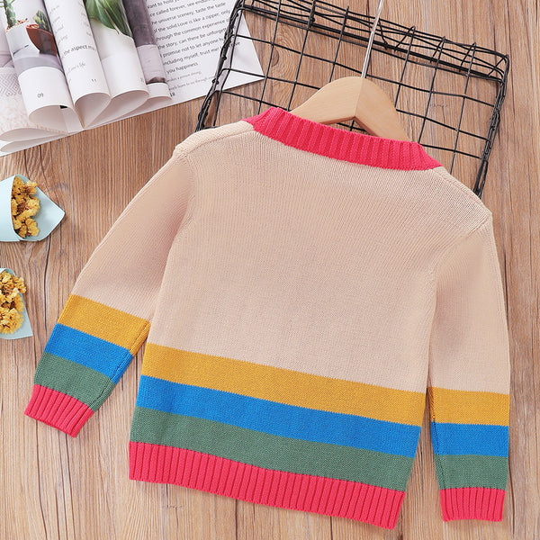 Boys V-neck Striped Color Block Pocket Cardigan Sweaters Trendy Kids Wholesale Clothing