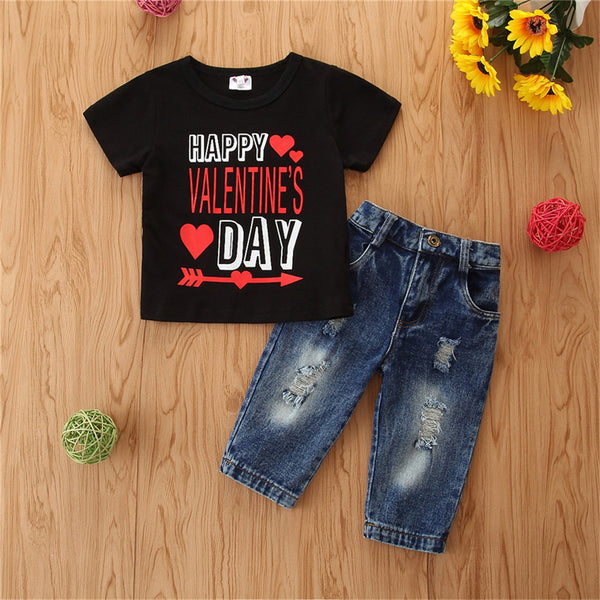 Unisex Valentine's Day Printed Short Sleeve Top & Jeans Wholesale Children'S Boutique Clothing Suppliers Usa