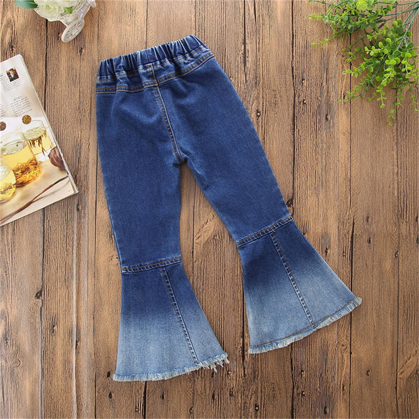 Girls Vintage Flared Denim Casual Trousers Wholesale