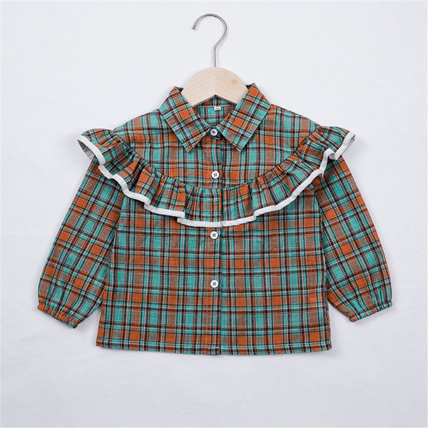Girls Vintage Plaid Ruffled Long Sleeve Button Blouse Girl Wholesale