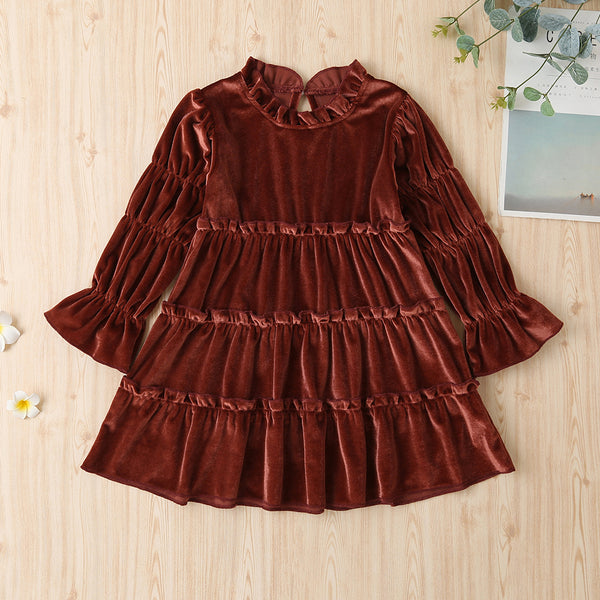 Girls Vintage Solid Long Sleeve Princess Dress Wholesale