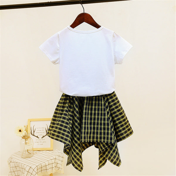 Girls Vogue Short Sleeve Top & Plaid Skirt cheap wholesale clothing