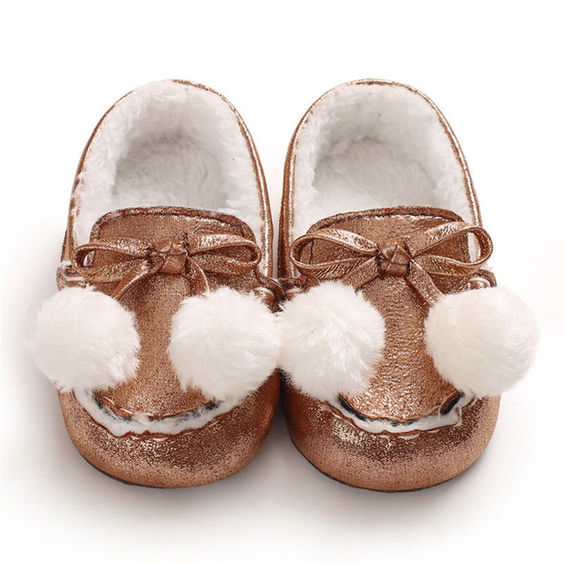 Baby Girls Warm Slip On Flats Winter Shoes