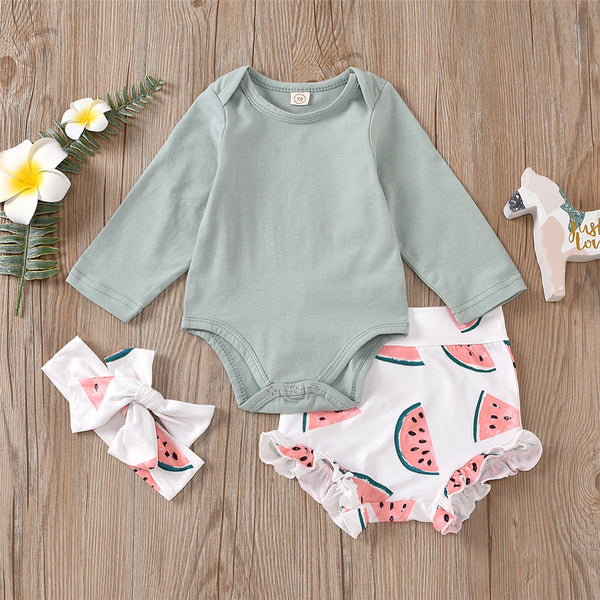 Baby Girls Watermelon Printed Romper & Shorts & Headband Wholesale