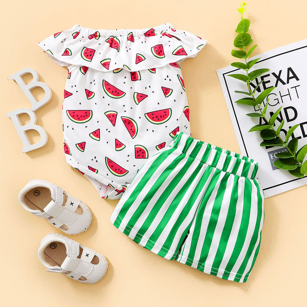 Baby Girls Watermelon Printed Ruffled Romper & Striped Shorts baby clothes wholesale usa