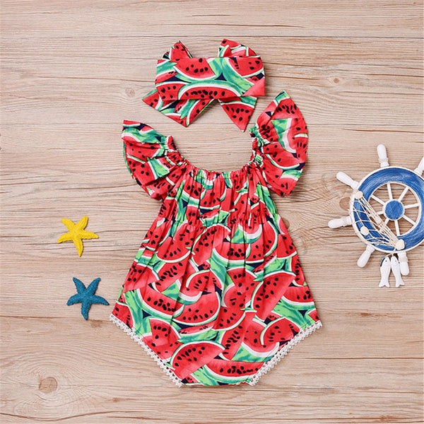 Baby Girls Watermelon Printed Short Sleeve Romper & Headband Wholesale Baby Clothes