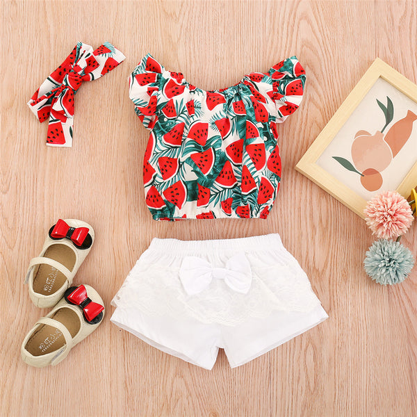 Baby Girls Watermelon Printed Short Sleeve Top & Lace Shorts & Headband baby clothes vendors