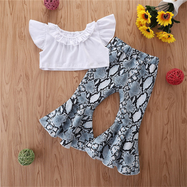 Girls White Flying Sleeve Top & Printed Flared Pants Kids Boutique Wholesale