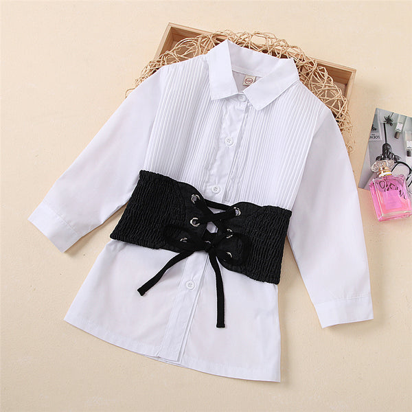 Girls White Long Sleeve Solid Blouse & Denim Tie-up Belt Wholesale Girls