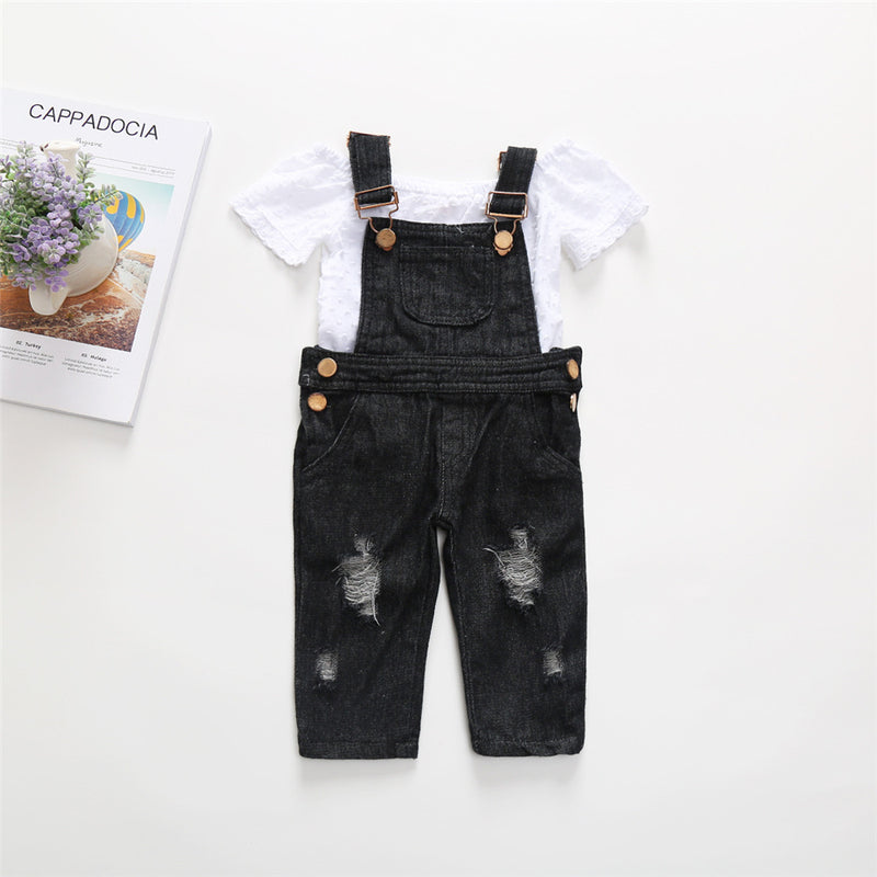 Girls White Short Sleeve Tee & Ripped Denim Overalls Toddler Girl Wholesale Clothing