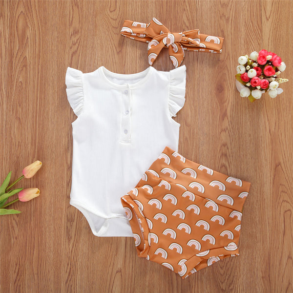 Baby Girls White Sleeveless Romper & Printed Shorts & Headband Baby Clothes Wholesale Bulk