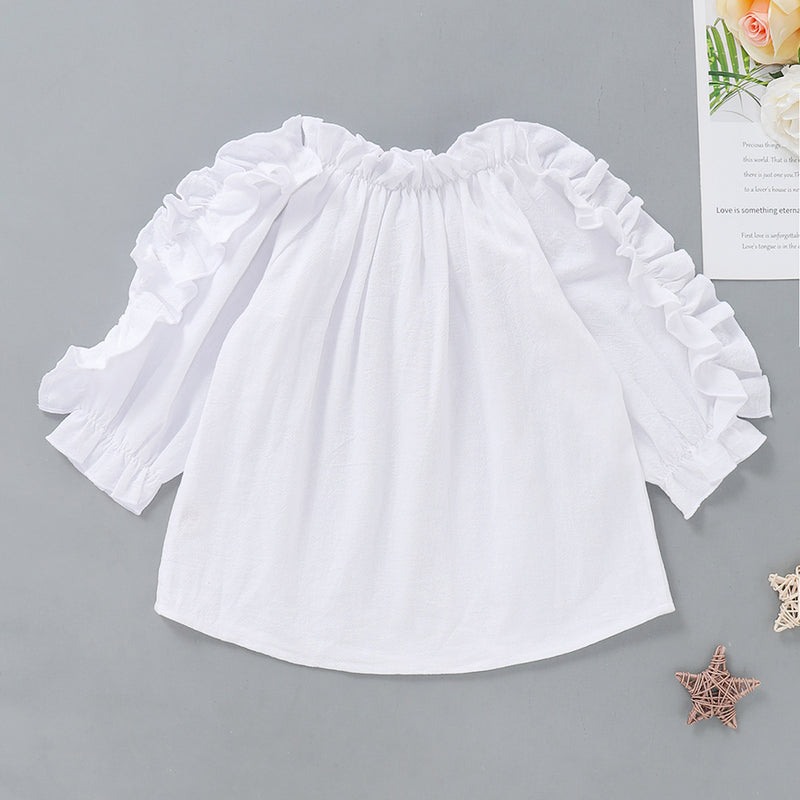 Girls White Waveselvedge Long Sleeve Blouse Wholesale Little Girl Clothing