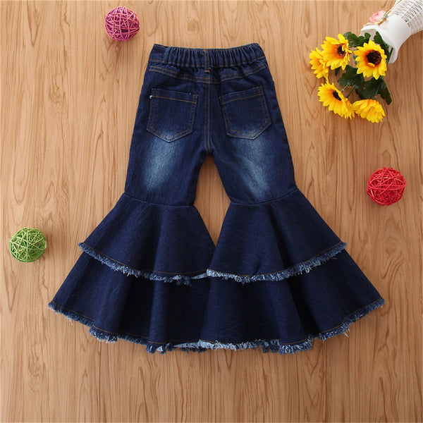 Girls Wide-leg Solid Pocket Flare Jeans Wholesale