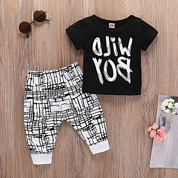 Baby Wild Boy Short Sleeve Top & Plaid Pants Baby Boutique Clothing Wholesale