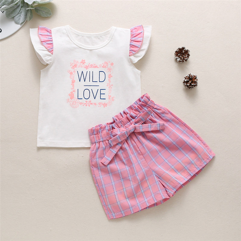Girls Wild Love Short Sleeve Top & Plaid Shorts Wholesale Clothing For Girls
