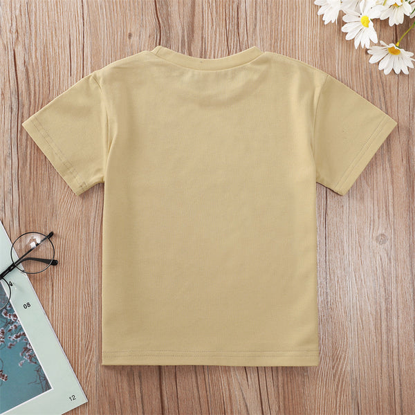 Girls Wild World Letter Dinosaur Printed Short Sleeve T-shirt baby clothes wholesale usa