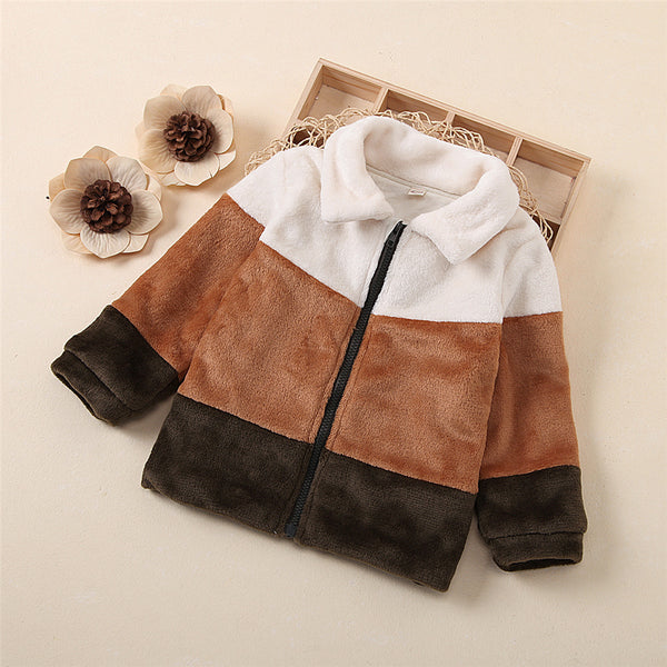 Girls Winter Zipper Lapel Color Block Fur Jacket Kids Clothing Suppliers