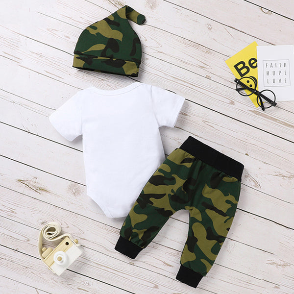 Baby Boys Worth The Wait Printed Short Sleeve Romper & Camo Pants & Hat cheap baby clothes wholesale