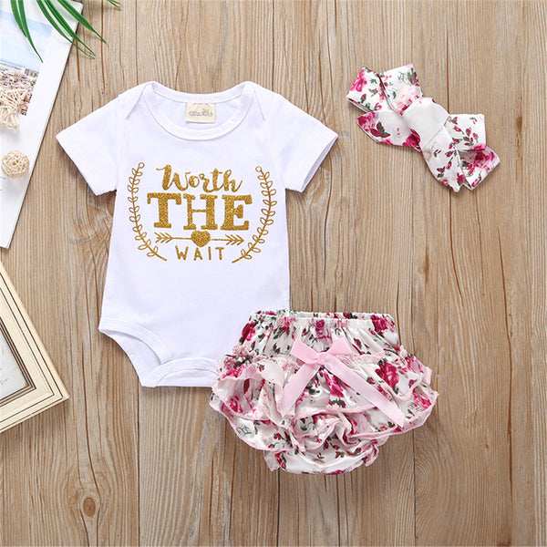 Baby Girls Worth The Wait Short Sleeve Romper & Floral Shorts & Headband Wholesale Baby Clothes In Bulk