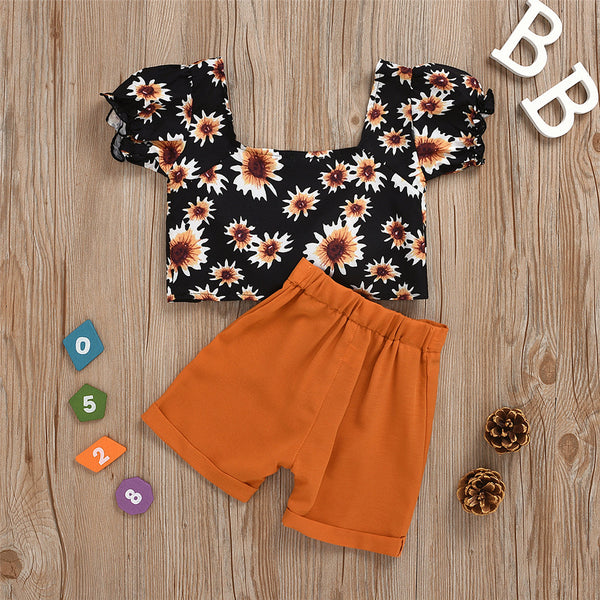 Girls Shorts Sleeve Backless Sunflower Printed Top & Shorts wholesale girls clothes