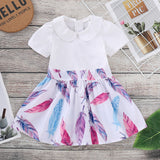 Toddler Girl Doll Collar Short Sleeve Feather Zip Dress