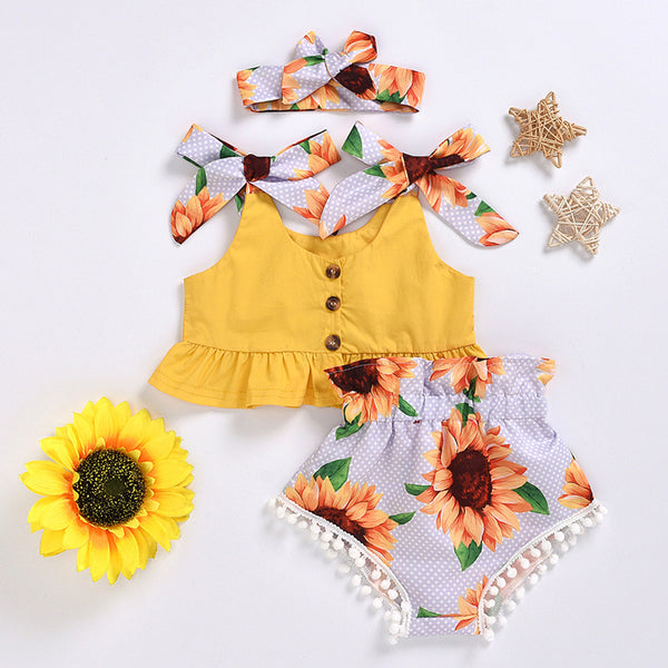 Baby Girls Yellow Bow Decor Sleeveless Top & Sunflower Shorts & Headband Baby Clothing Cheap Wholesale