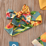 Girls Yellow Bow Decor Sling Top & Fruit Printed Pants wholesale kids clothing suppliers