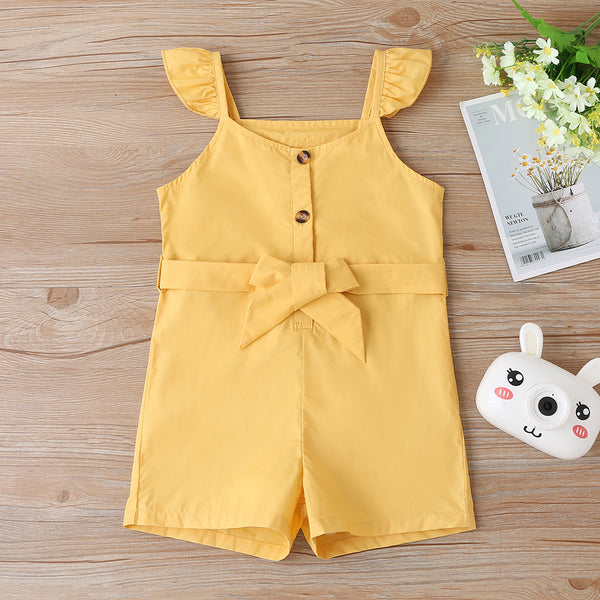 Girls Yellow Button Belt Jumpsuit wholesale girls clothes