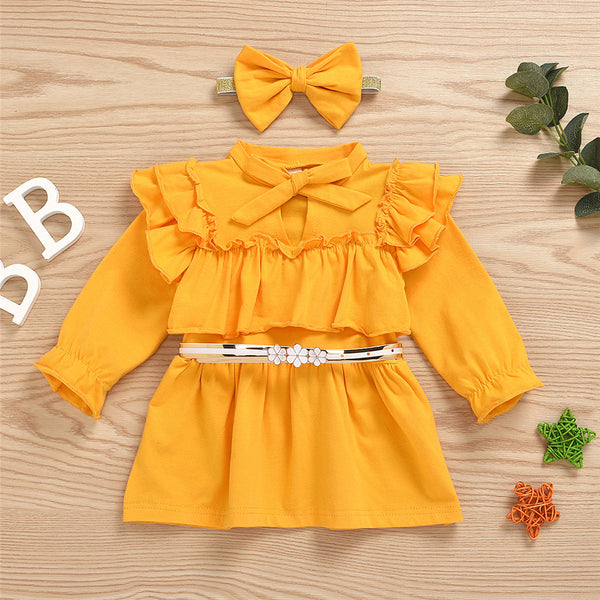 Girls Yellow Long Sleeve Bow Decor Dress & Headband Girls Dress Wholesale