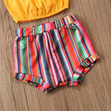 Girls Yellow Lotus Leaf Collar Top & Striped Shorts & Headband Girls Boutique Clothes Wholesale