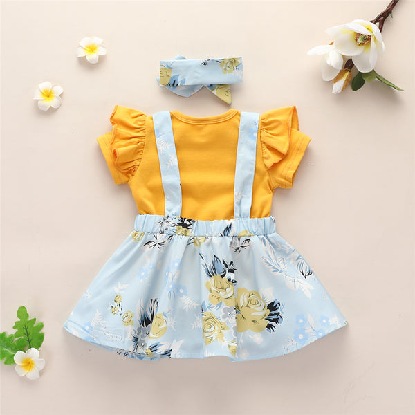 Baby Girls Yellow Short Sleeve Romper & Floral Suspender Skirt & Headband Baby Clothing Warehouse