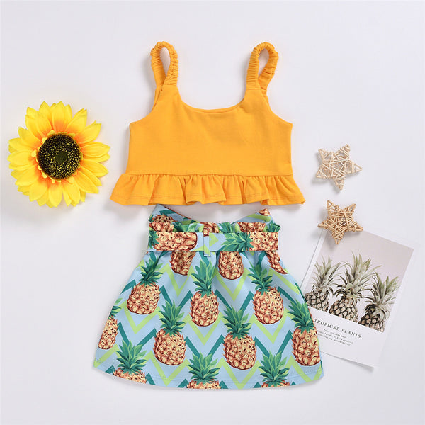 Girls Yellow Sling Top & Pineapple Printed Shorts trendy kids wholesale clothing