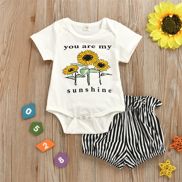Baby Girls You Are My Sunshine Sunflower Printed Short Sleeve Romper & Shorts Wholesale Clothing Baby