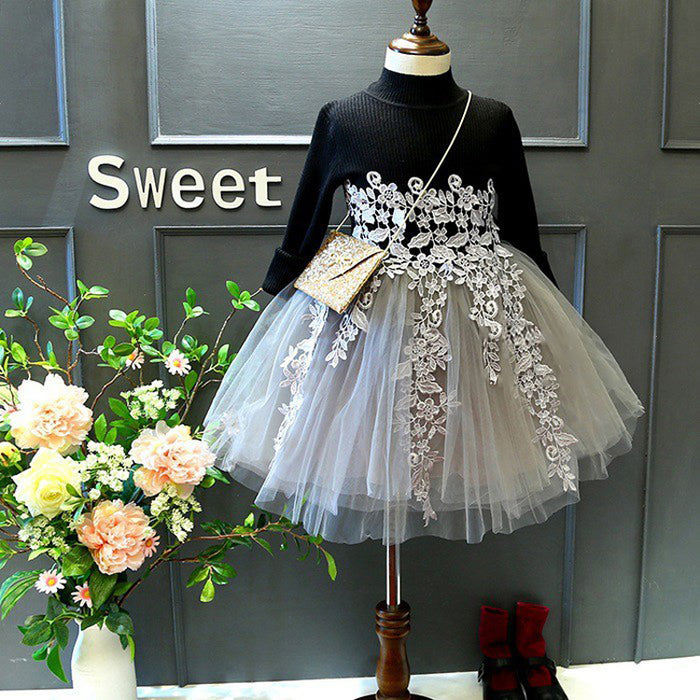 Girls Fashion Mesh Dress Long Sleeve Splice Princess Dress