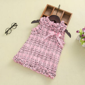 Fashionable Girl Sleeveless knitted Plaid Bow Dress